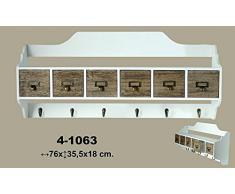 DonRegaloWeb - Estante de colgar - Perchero de pared de madera y metal con 6 cajones y 6 ganchos en color blanco decape y madera
