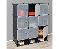 TS Ideen 5159 Closet Habitaciones completas para los zapatos, la vanidad de baño, armario de dormitorio, Negro / Blanco Transparente