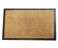 Apollo – Felpudo de fibra de coco (60 x 90, negro/marrón