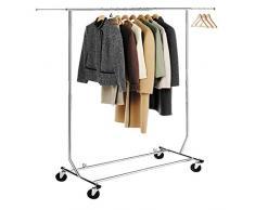 HLC Perchero para colgar ropa con ruedas y barras,altura ajustable entre 147 y 170cm,cromado