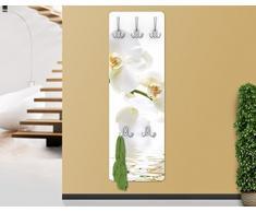 WTD White Orchid Waters - Perchero de pared (madera MDF, diseño con imagen de orquídeas), color blanco