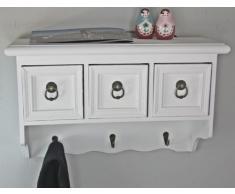 elbmöbel - Perchero de pared con cajones (madera), color blanco