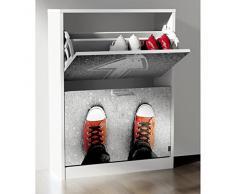 Suarez Zapatero 2 baldas, diseño Sneakers, 1 unidad, color blanco, dimensiones 82 x 60 x 24,2 cm (H329-SNBW)