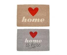 Felpudo original de fibra de coco y base de goma diseño romantica love HOME (Natural)