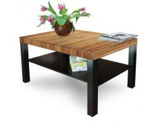 Gran mesa de centro auxiliar con estante con diseño: madera de bambú