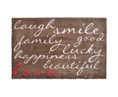 Alfombrilla LifeStyle 100512 Risas con amor, felpudo antideslizante y lavable, ideal para la entrada, el armario o la cocina, 50 x 75 cm, marrón / rosa