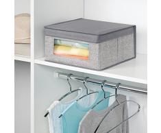 InterDesign - Aldo - Caja-organizadora de tela, para armario; guarda ropa, zapatos, carteras, pantalones - mediana - Gris