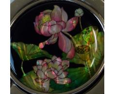 Gancho Cuelga Bolsos Plegable de Mano con Diseño en Madreperla de Flores de Loto Rosa
