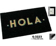 DonRegaloWeb - Felpudo de fibra de coco decorado con la palabra hola en color negro y otros.