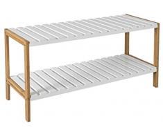 Zapatero de bambú con 2 estantes para el pasillo – Ideal para zapatos de madera en marrón/blanco 70 x 30 x 25