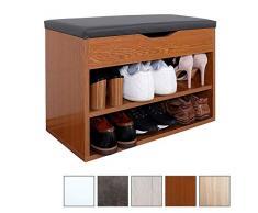 RICOO WM032-ER-A, Banco Zapatero, 60x42x30cm, Armario Interior con Asiento, Organizador Zapatos, Mueble recibidor, Perchero, Madera Roble rústico