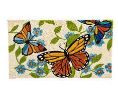 Evergreen mariposas alfombrilla de fibra de coco, 16 x 28 pulgadas