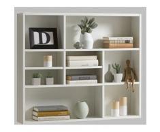Estantería de pared de estantería de libros de espacio de almacenamiento de estantería Mika de colour blanco FMD