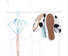 WOVELOT Estante Plástico del Zapato Tendedero para Ropa Interior Gancho Percha Estante de Secado de Zapatos Peque?o Soporte Al Aire Libre Azul