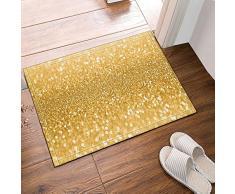 Nyngei Alfombra de baño de lentejuelas doradas antideslizante para entrada de suelo al aire libre, interior y puerta, 60 x 40 cm, alfombra de baño, alfombra de baño