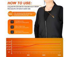 Chaleco de mujer con calefacción USB, Chaqueta térmica de 5 V con calefacción Ropa calentador almohadilla térmica para hombres y mujeres, Alimentado por una batería recargable del banco de energía (M)