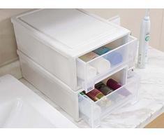 2 unidades color blanco – Armario Armario de retención de sistema de estantería armario perchero, ranuras caja y transparente cajones 34 x 25 x 12 cm & 27 x 18 x 10