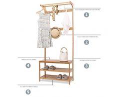 MLMHLMR Bamboo Coat Rack Floor and Shoe Rack Hanger Dormitorio Combinación Sencillo Zapato de casa Banco Colgador de Sala de Estar 80X31X 170 cm Perchero