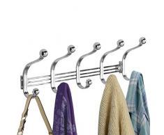 mDesign perchero de puerta - 5 ganchos dobles - Práctico colgador de ropa  para entrada o 63ae2741a461