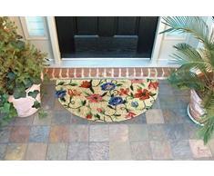 EHC – Felpudo (40 x 70 cm, PVC y fibra de coco Half Moon entrada Felpudo, diseño floral