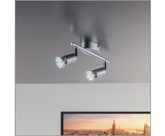 Lámpara de techo | Lámpara de pared | Dos focos LED de 3 vatios y 250 lúmenes | Giratoria y orientable | Con dos lámparas incluidas | Spot GU10