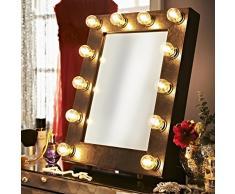El Broadway de piel sintética con iluminación Hollywood diseño cartel de teatro de espejo luz vestuario tablero de la mesa de tocador en la pared
