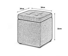 LIXDZ Reposapiés Plegable Cubo Taburete Caja de Almacenamiento Asiento Extraíble Cubierta de Lino para Maquillaje Taburete Niño Taburete Cama Taburete Sofá Taburete 30x30x35 (Color : Gray)