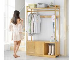 WYQSZ Rack de Ropa de bambú Simple, Rack de Ropa de bambú de Dormitorio en el Piso, Banco de Zapatos de Madera Maciza (Size : B)