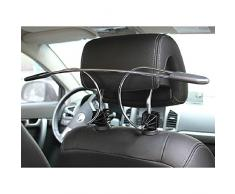 Percha para asiento coche - SODIAL(R)Negro Percha Perchero Gancho Plegable de Acero Inoxidable de Traje Chaqueta para Asiento de Coche