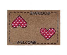 """dcasa - Felpudo diseño romantico """"two hearts"""" fibra de coco 60 x 40 cm"""