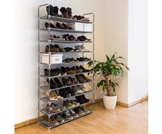 Relaxdays - Zapatero Valentin Hecho de estructuras de Acero y Cubierta de Tela con Medidas 175,5 x 100 x 29 cm hasta 10 Pisos hasta 50 Pares de Zapatos, Color Gris