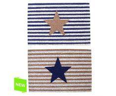 dcasa - Felpudo original de fibra de coco y base de goma diseño estrella rayas 60 x 40 cm - Estrella azul