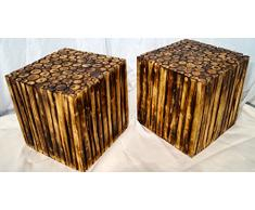 Taburete - asiento cubo Mr. Ghandi, madera,, cojín indio, resistente