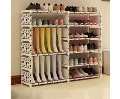 Organizador De Calzado Alto De Acero Inoxidable Plegable Organizador De La Caja De Zapatos Soporte De Almacenamiento 6 Tier Holder para Botas Shoes120 * 85 * 30cm (Color : Blanco)