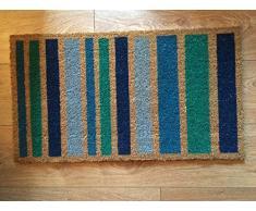 Heavy Duty 100% Fibra de coco Felpudo antideslizante alfombra/Felpudo (40 x 70 cm), diseño de líneas verticales