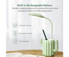 VADIV Lámpara LED de Escritorio Lámpara de Mesa USB de Carga Brillo de 3 Niveles Control Táctil Recargable Diseño Cactus Flexo Lectura Protección para Los Ojos Niños (Verde)