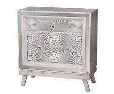DRW Consola - Mesa recibidor de Madera con Espejos con 1 cajón y 2 Puertas en Blanco Beige Anaranjado 80x40x85,5cm