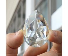 ounona 50 mm, transparente de cristal en forma de lágrima lámpara de araña prismas piezas para colgar, diseño con colgantes bolas, para casa decoración para boda fiesta (transparente)