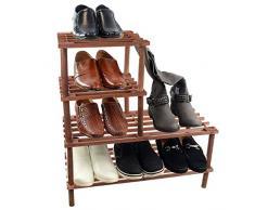 Generic YC-UK2 – 160920 – 40 < 1 & 5982 * 1 > ganisershelf soporte estante soporte de rejilla de madera natural 4 niveles de almacenamiento zapatos botas unidad de Rack organizador color al azar 4 Tier tira