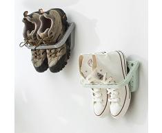 hkfv nueva creativo único comodidad diseño de útil ahorrar lugar para usted plástico estante de exhibición soporte estante zapatero armario organizador de pared Amazing Creative patrón zapatos perchas, Blanco, 28x14x2cm