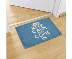 Relaxdays – Felpudo KEEP CALM AND COME IN para la entrada de su hogar hecho de fibras de coco y PVC con medidas 40 x 60 cm antideslizante elemento decorativo, color turquesa