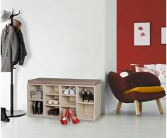 WOHNLING banco de zapato con el amortiguador LAURA Sonoma pasillo Banco 103,5 x 53 x 30 cm | Banco con estantes | Banco para vestuarios con espacio de almacenamiento