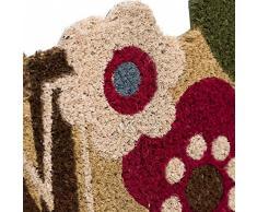 """Dcasa - Felpudo original """"flower welcome"""" fibra de coco 60 x 40 cm"""