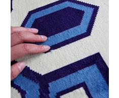 Refuerzo de las alfombras de interior Sencilla mesa de centro moderna sala de estar alfombra en casa habitación de la máquina manta borde de la cama llena de vacío tapetes lavables Tapetes, alfombras de piso ( Color : Azul )