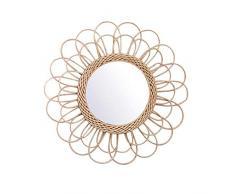 RecoverLOVE Espejos de Pared Colgante Decorativo Espejo de decoración de Pared con ratán Natural Art Deco Espejo Redondo Sala de Estar montado en la Pared Espejo en Forma de Sol