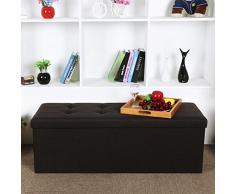Songmics 110 x 38 x 38 cm Baúl Puff Taburete para almacenaje Plegable Carga máxima de 300kg Textil lino Marrón oscuro LSF77Q