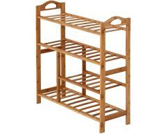 Miadomodo - Estantería zapatero de madera bambú 4 niveles - con compartimiento para guardar botas
