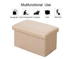 Baul puff taburete para almacenaje/ Taburete zapatero plegable, hecho de lino, fácil de instalar, carga de 100kg - 40*25*25cm/ Beige