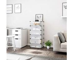 Songmics Estantería por módulos Organizador de zapatos, zapatero con 6 estantes (107 x 50 x 37cm, resistente al polvo), color blanco LPC06W