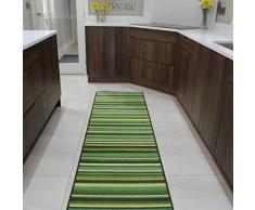 Tapete de Entrada y Alfombras de Pasillo Luna Antiderrapante Diseño Rayas Verde - Disponible en 6 tamaños